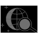 Dessin d'un planisphère avec loupe