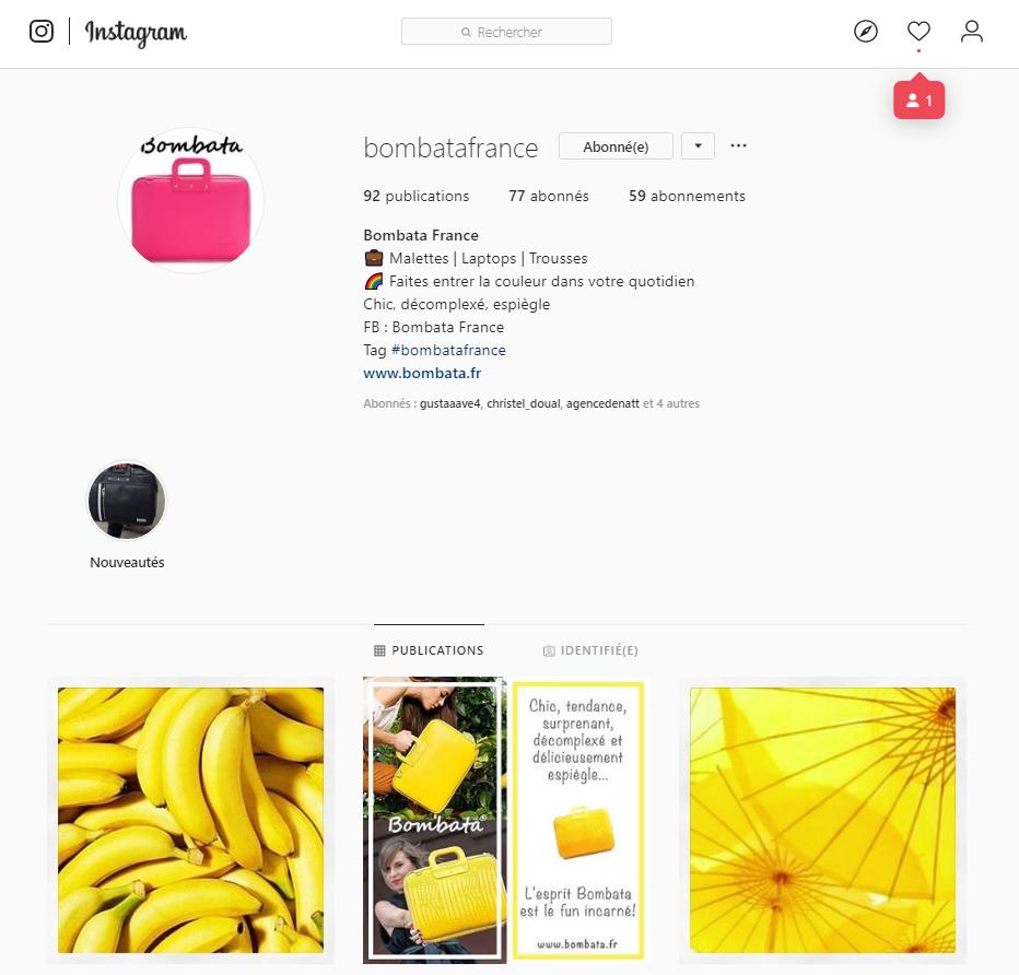 page instagram Bombata