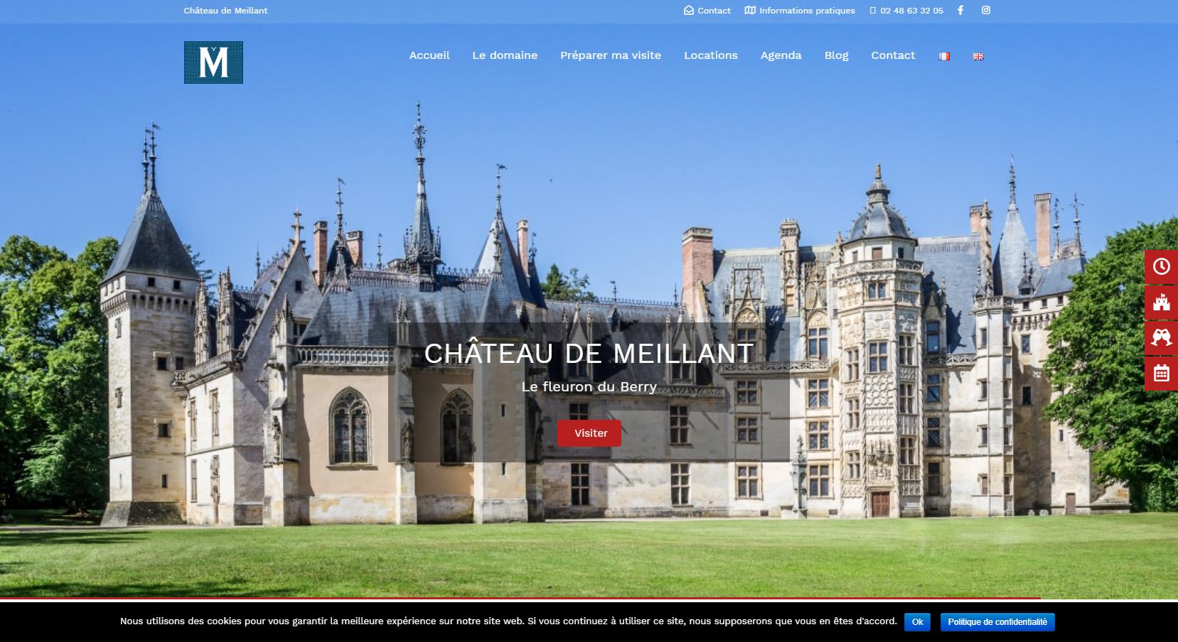 aperçu page d'accueil du site du château de Meillant